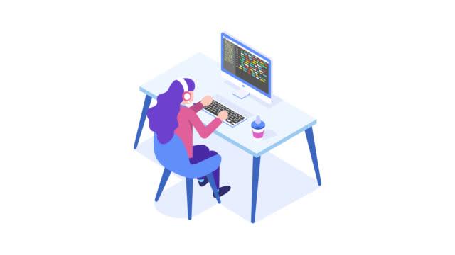 Programming concept, web engineer at work. Woman working on desktop computer