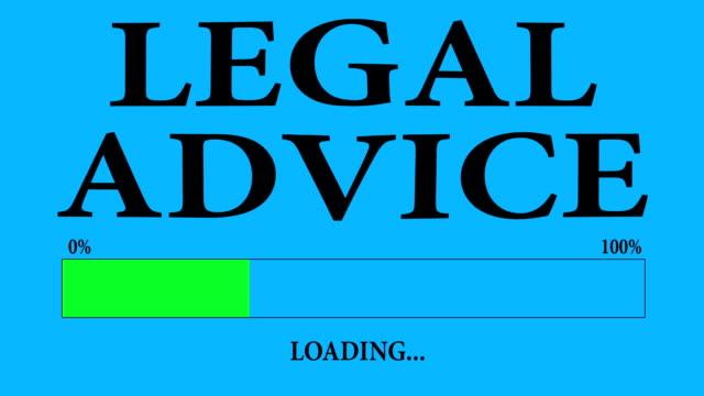 vídeos de stock, filmes e b-roll de barra de progresso carregamento com o texto: carregamento de aconselhamento jurídico. - assistente jurídico