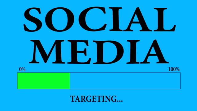Progress Bar de chargement avec le texte: ciblant les médias sociaux. - Vidéo