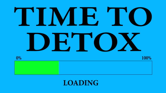 progress bar loading with the text: time to detox loading. - disintossicazione video stock e b–roll