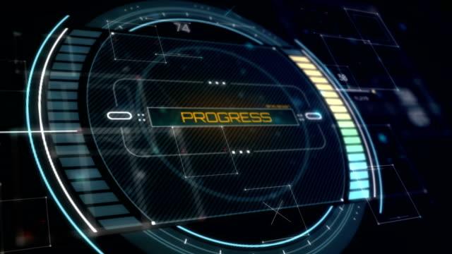 Progress Interface. Futuristic Status Panel in perspective view video