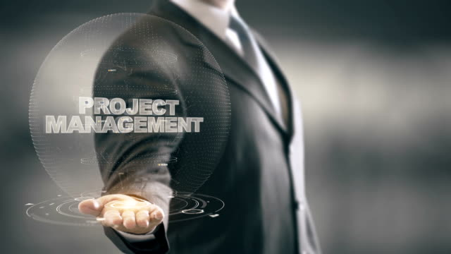Project Mnangement with hologram businessman concept video