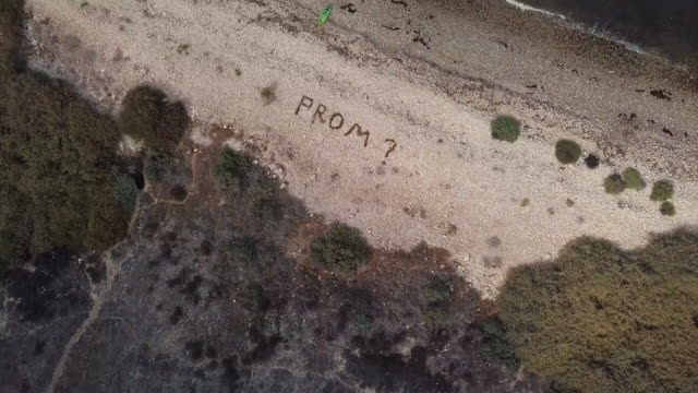 prom proposal - aerial drone shot - prom stock videos and b-roll footage