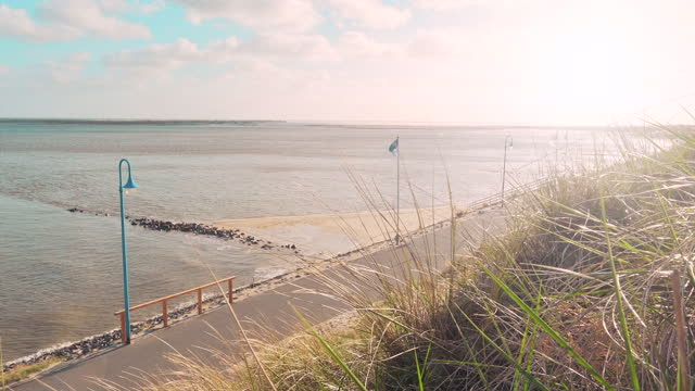 Promenade at the sea Promenade at the sea, Amrum Germany coastal feature stock videos & royalty-free footage