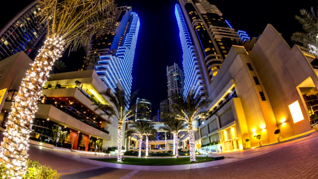 Promenade in Dubai Marina timelapse at night, UAE video
