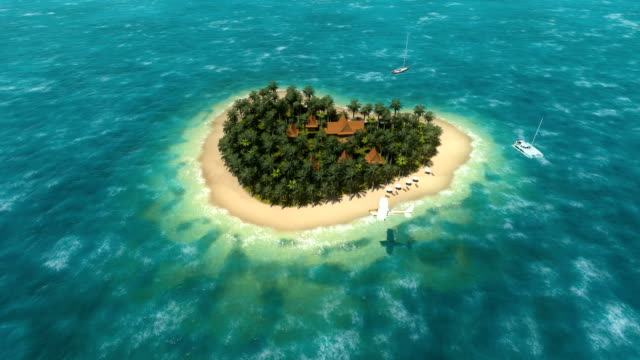 Propeller plane over heart shaped island video