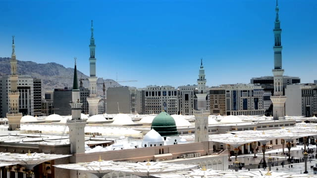 Prophet's Mosque green dome with blue sky video