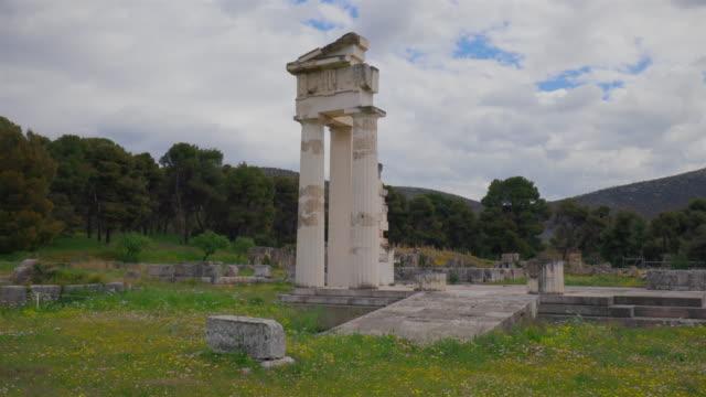 propylon of the gymnasion of ancient epidaurus / peloponnes, greece - пелопоннес стоковые видео и кадры b-roll