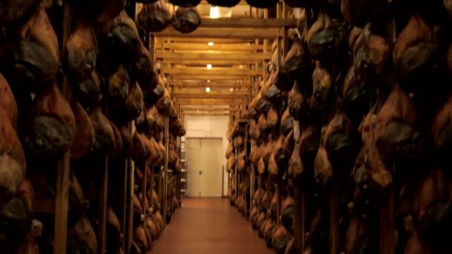 stockvideo's en b-roll-footage met prosciutto, parma ham fabriek, opknoping, rijpen, gekruid - ham