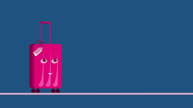 Protection against coronavirus during travel. Concept art. Pink cute suitcase puts on a mask before the trip. Protection against coronavirus during travel. Concept art. Pink cute suitcase puts on a mask before the trip. covid icon stock videos & royalty-free footage