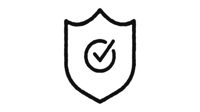 vídeos de stock e filmes b-roll de protection icon animation footage & alpha channel - escudo