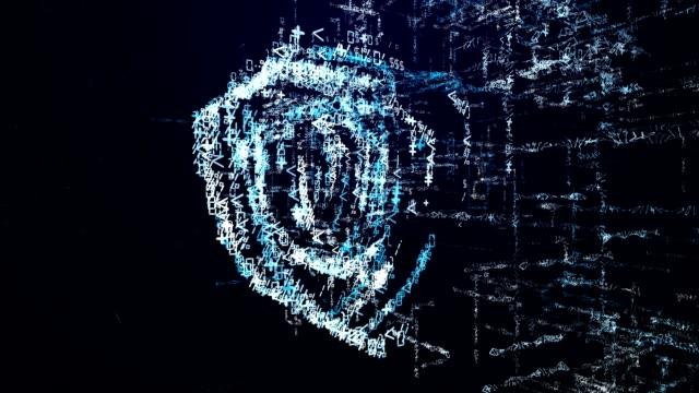 vídeos de stock e filmes b-roll de protection icon consisting of interactive digit and symbol. security icon in digital cyber space - escudo