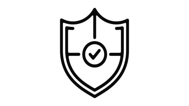 vídeos y material grabado en eventos de stock de protección línea motion graphic - shield