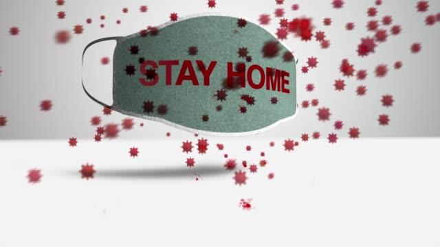 vídeos y material grabado en eventos de stock de máscara de protección stay home - stay home