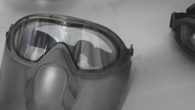Protective face masks and glasses video