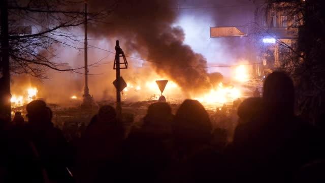 Protesters burn tyres in Kiev, January 2014