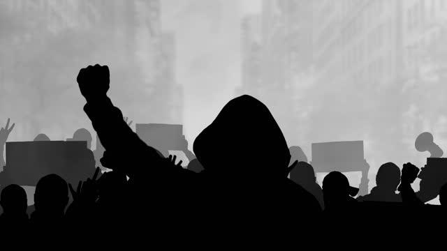 protesterande folkmassa silhuett på stadens bakgrund. social picket på urban gata. stå upp för rasism. stoppa nationell diskriminering rally platt design. människor marscherar tillsammans i politisk protest. - etnicitet bildbanksvideor och videomaterial från bakom kulisserna