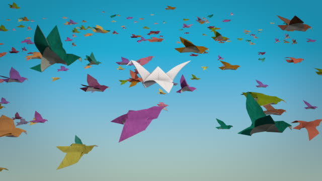 Proteus - Contrary To What Most Are Doing Clusters of paper origami birds moving monotonously to the purpose of their journey. A paper crane flies like a misfit stubbornly in the opposite direction. individuality stock videos & royalty-free footage