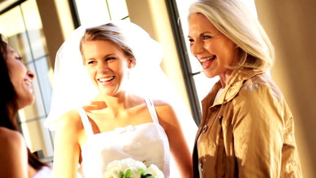 Proud Mother Grandmother Smiling with Bride Wedding Day Young bride with mother grandmother at home before wedding granddaughter stock videos & royalty-free footage