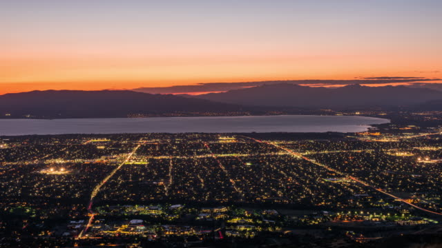 Provo, Utah, USA view of downtown from above during an autumn dusk.