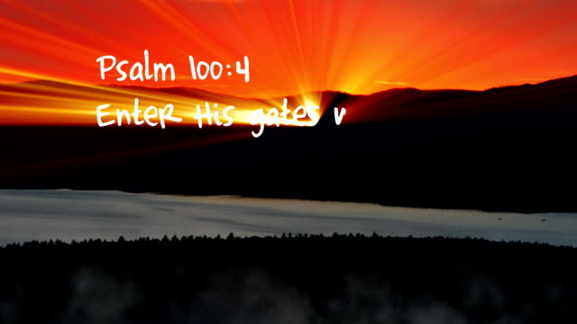 Psalm 100:4 - HD Psalm 100:4 Bible verse written with light. old testament stock videos & royalty-free footage