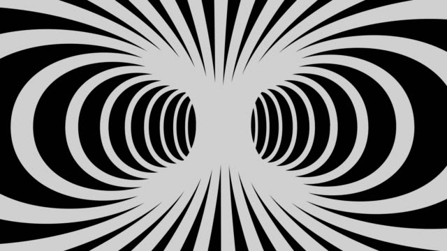 Psychedelic looping background in black and white stripes 3D psychedelic stage shape looping animated in 4K illusion stock videos & royalty-free footage