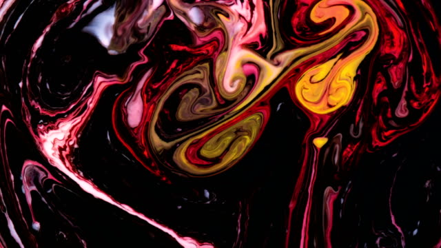 Psychedelic patterns blend into abstract shapes in white water Psychedelic patterns blend into abstract shapes in white liquid. neon colored stock videos & royalty-free footage