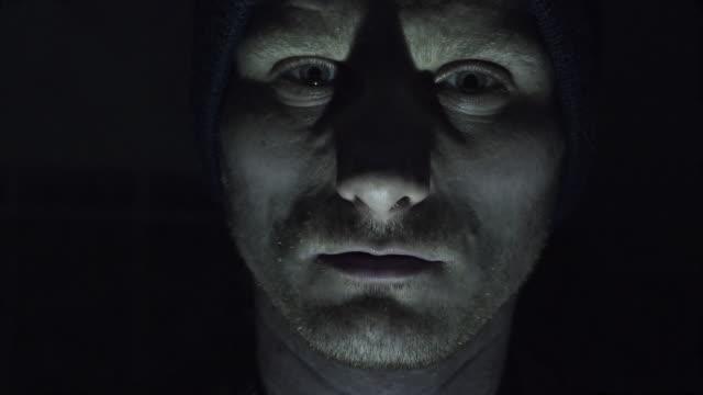 Psychopath screams at the camera video