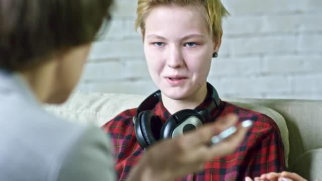 Psychotherapist Talking to Teenage Girl video