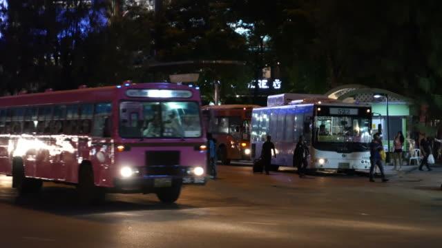 Pubic bus station in Bangkok video