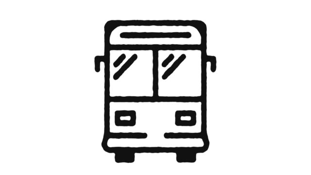 öpnv icon animation footage & alpha channel - tour bus stock-videos und b-roll-filmmaterial