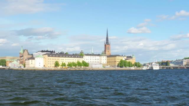 Public transportation ship going to old city in Stockholm, Sweden video