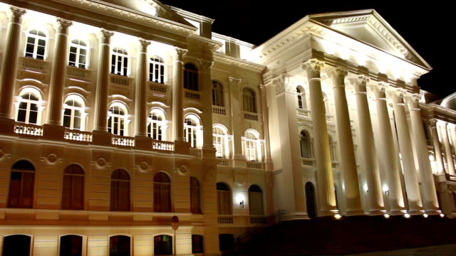 Public university building in Curitiba, Brazil Pan view of public university old building with classical architecture and greek pillars in Curitiba, Paraná. City to host the next world cup of soccer in Brazil. architectural column stock videos & royalty-free footage