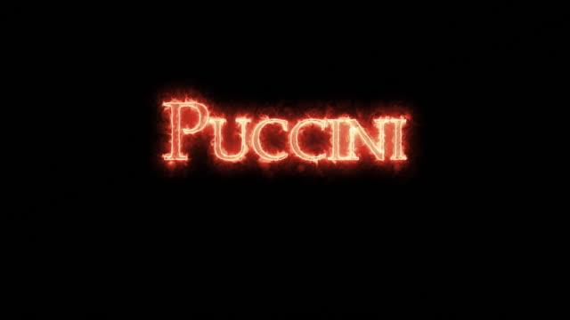 vídeos de stock e filmes b-roll de puccini written with fire. loop - compositor