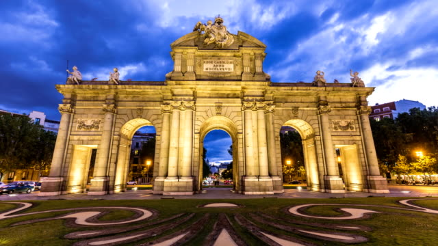 puerta de alcalá in madrid - landmarks stock videos and b-roll footage