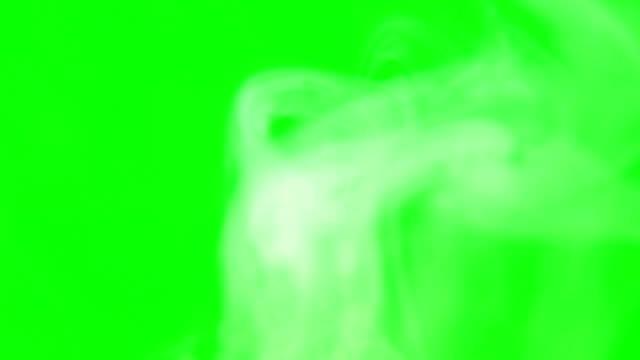 vídeos y material grabado en eventos de stock de bocanadas de humo blanco en la pantalla verde y fondo negro. - esmeralda