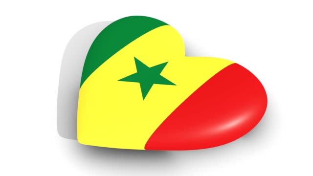 Pulsating heart in the colors of Senegal flag, on a white background, 3d rendering side, loop Pulsating heart in the colors of Senegal flag, on a white background, 3d rendering side, loop senegal stock videos & royalty-free footage