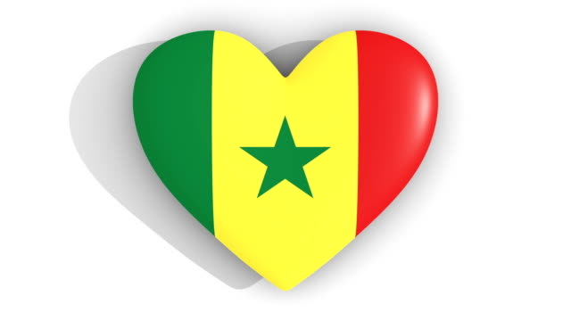 Pulsating heart in the colors of Senegal flag, on a white background, 3d rendering top, loop Pulsating heart in the colors of Senegal flag, on a white background, 3d rendering top, loop senegal stock videos & royalty-free footage