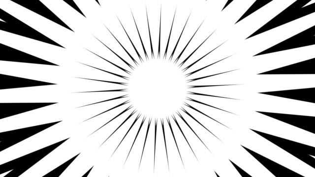 sfondo ipnotico a forma di stella pulsante in bianco e nero - spirale ricciolo video stock e b–roll