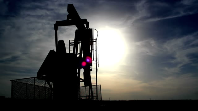 Pump jack silhouette video