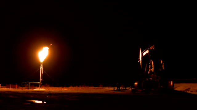pumpjack and gas flare video