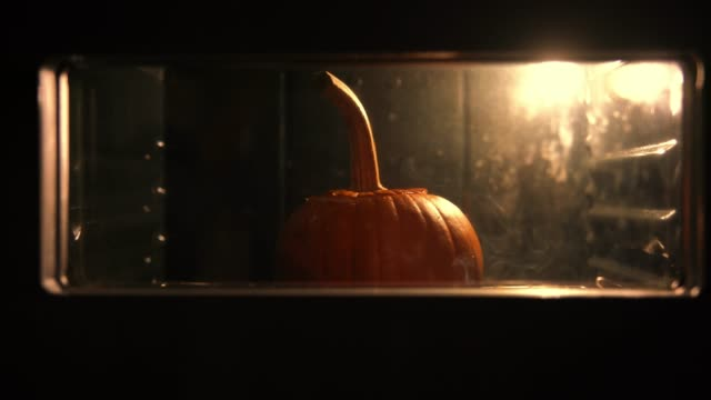 Pumpkin baking in the oven