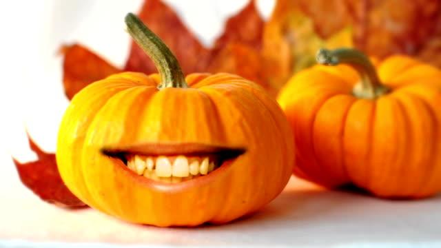 хэллоуин тыква во рту - pumpkin стоковые видео и кадры b-roll