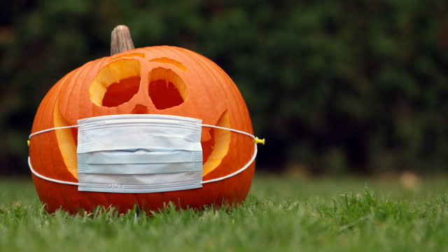 Pumpkin or Jack O'lantern with Protective Face Mask on grass Pumpkin or Jack O'lantern with Protective Face Mask on grass halloween covid stock videos & royalty-free footage