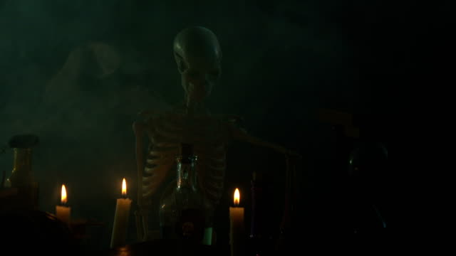 Pumpkin, Poison Bottle, Dead Insects, Candles, Human Skeleton and Magic Book For Halloween video