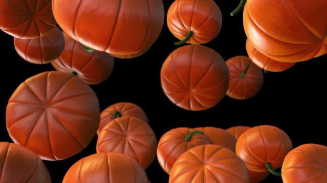 pumpkins falling - slow motion + alpha - pumpkin stock videos & royalty-free footage