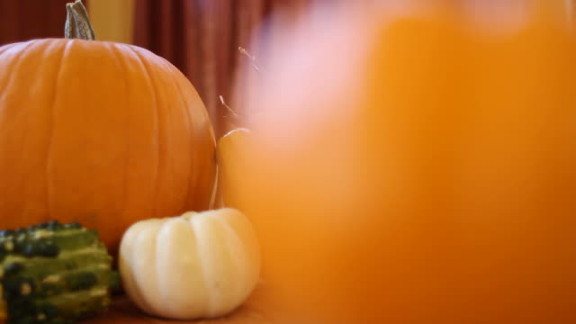pumpkins on table tracking shot - thanksgiving background stock videos & royalty-free footage