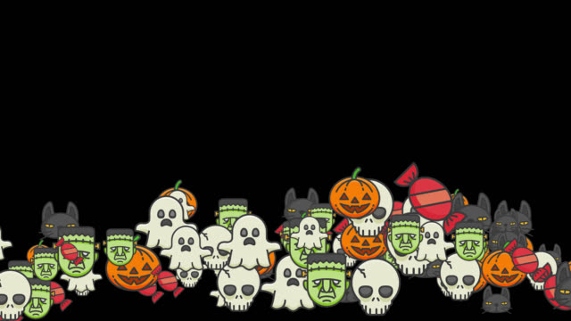 Pumpkins, skulls, black cats, frankenstein, and ghost for halloween Effect with pumpkins, skulls, black cats, frankenstein, and ghost floating on the canvas (horizontal) to be applied to Halloween images.  Live style animation, with alpha channel for application.  Alpha channel will be included when downloading the 4K Apple ProRes 4444 file only. ghost icon stock videos & royalty-free footage