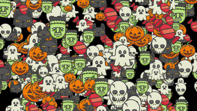 Pumpkins, skulls, black cats, frankenstein, and ghost for halloween Effect with pumpkins, skulls, black cats, frankenstein, and ghost floating on the canvas (all) to be applied to Halloween images.  Live style animation, with alpha channel for application.  Alpha channel will be included when downloading the 4K Apple ProRes 4444 file only. ghost icon stock videos & royalty-free footage