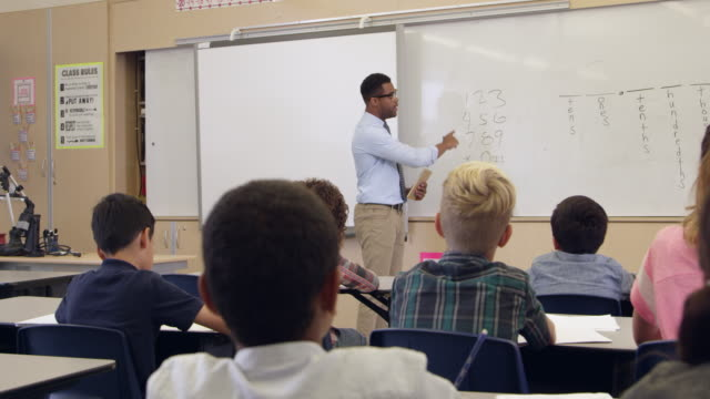 Pupil asking question in math class, back view, shot on R3D video
